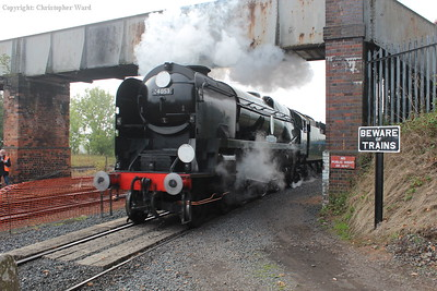 34053 bursts out from under the footbridge and into Kidderminster