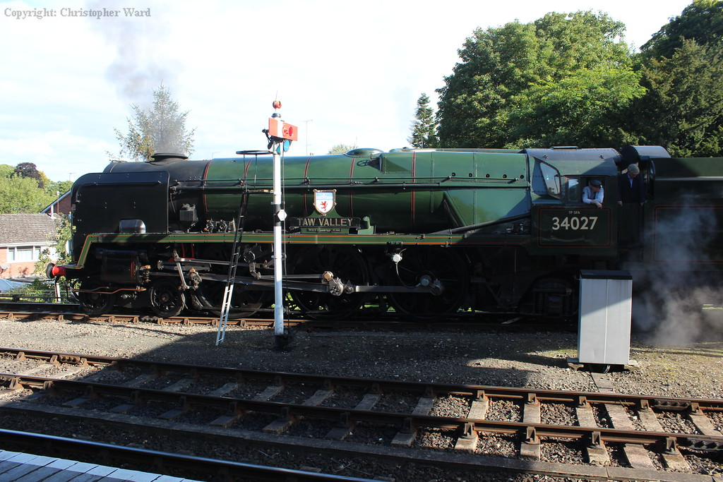 34027 prepares to depart Bewdley for her first trip up the valley of the day