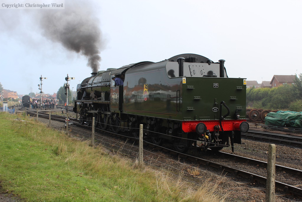 Royal Scot prepares to shunt onto the train