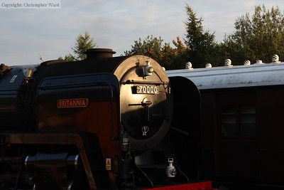 Smokebox detail picked out by the setting sun
