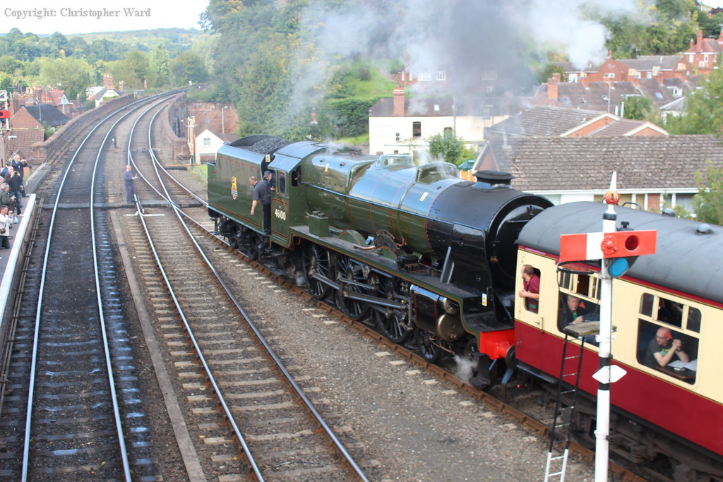 Royal Scot, recently returned to steam, pulls away from Bewdley with a Bridgnorth working