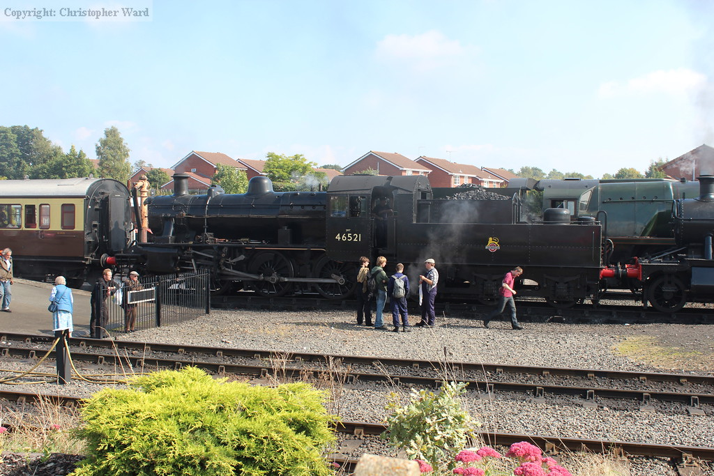 The Ivatt 2MT is hooked onto the stock