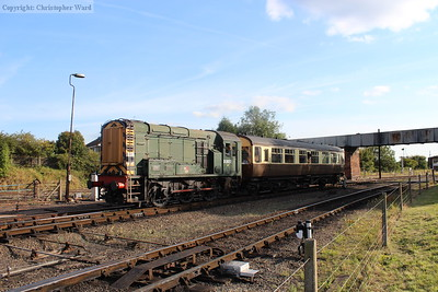 The 08 shunter engaged in its toil