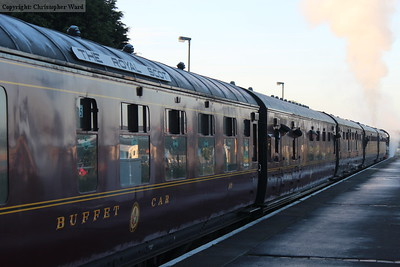 Two of the beauttifully restored LMS carriages in the dull light of the early morning at Kidderminster