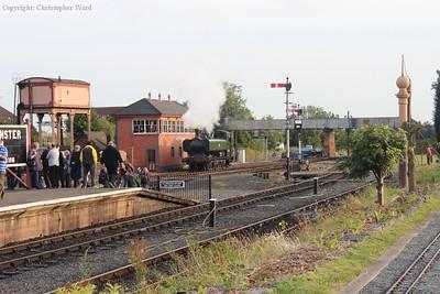 The Pannier runs past the signal box