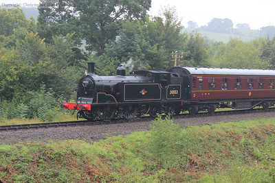 The diminutive LSWR tank runs past the Engine House