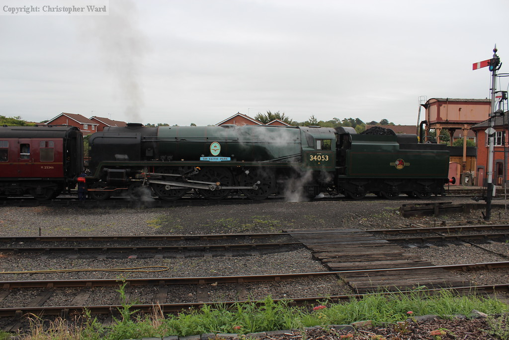 34053 Sir Keith Park in charge of the early morning departure from Kidderminster