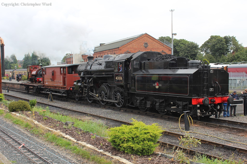 43106 shunts the unusual freight train at Kidderminster