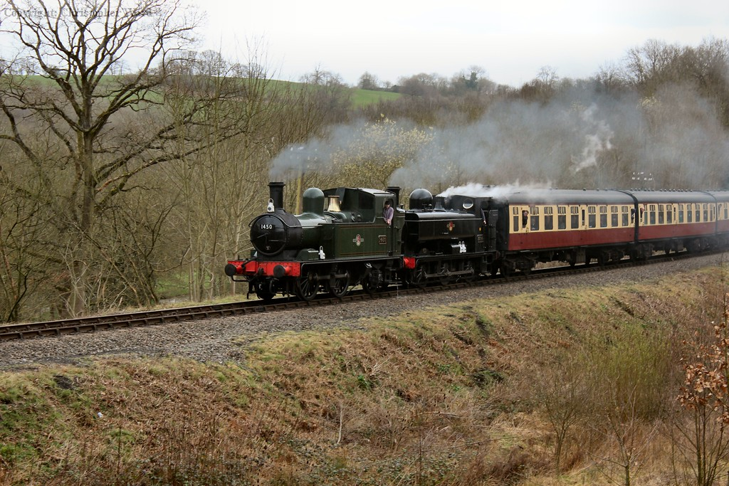 The two GWR tank engines team up with a Bridgnorth train
