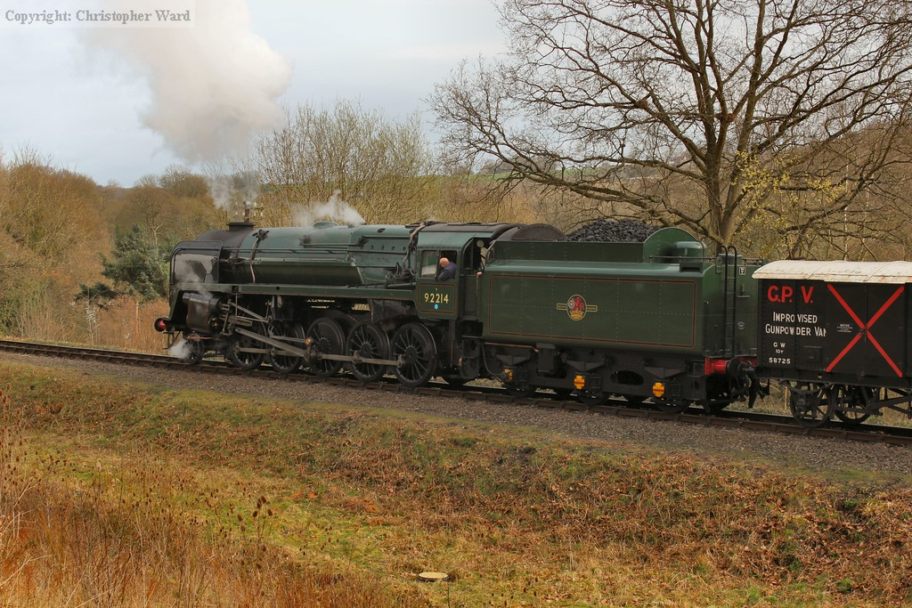 The 9F in her lined green livery...not sure a gunpowder van really ought to be the first vehicle?