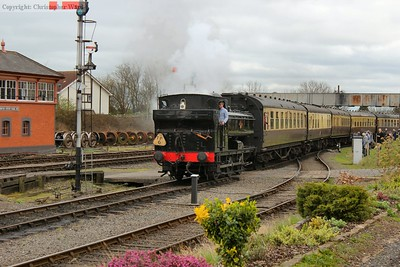 The recently overhauled Pannier tank brings the GWR coaching stock into Kidderminster