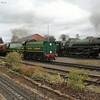 A busy scene at Kidderminster with Bradley Manor and 92 Squadron waiting their next trains and the 9F arriving from Bridgnorth