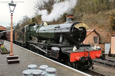 Bradley Manor waits the right away from Kidderminster with the local train at Bewdley