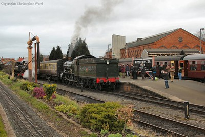 7802 pulls out of Kidderminster for the run to Bridgnorth