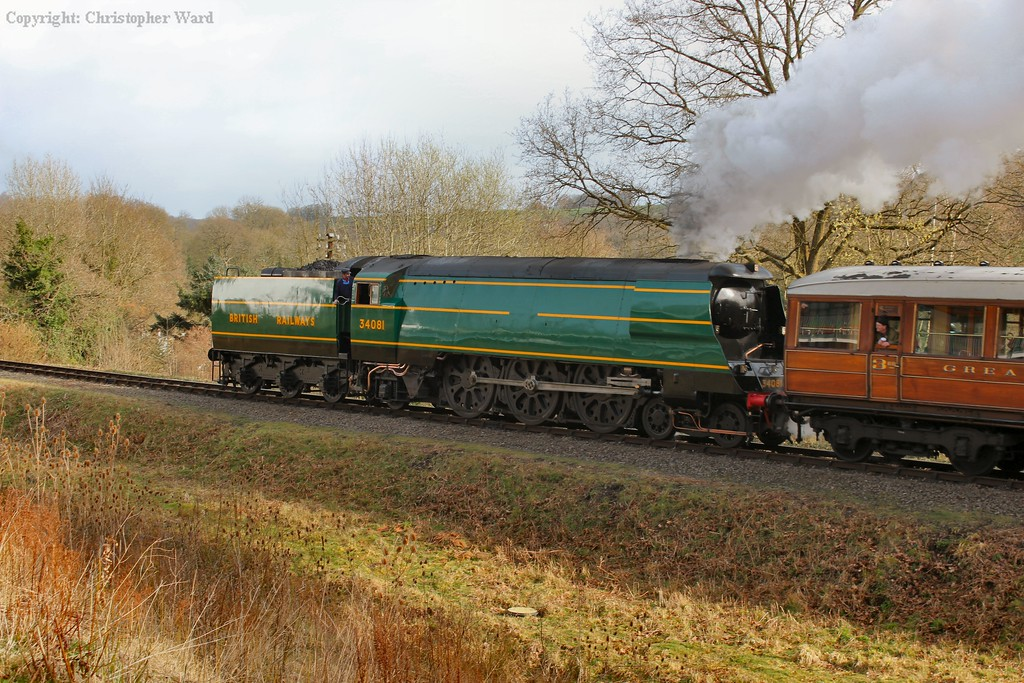 34081 brings the LNER teak set into Highley with the first full line train of the day