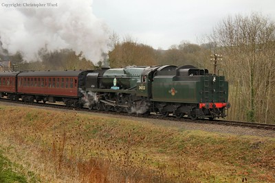 34053 pulls out of Highley with a Kidderminster train. The first carriage is the line's unique experimental Mk.1 from the early 1950s.