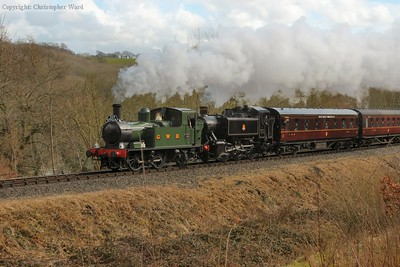 The two Western tank engines, including 1450 in her new GWR livery, team up