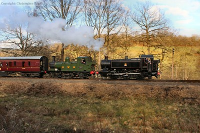 The sun drifts in and out of clouds as the tank engines head for Arley