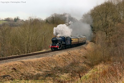 6023 opens up on the approach to Highley
