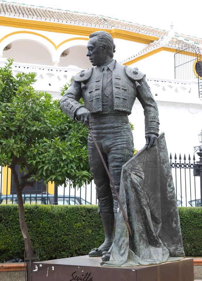 Bull Fighter Statue in front of the Bull Ring in Seville, Spain.