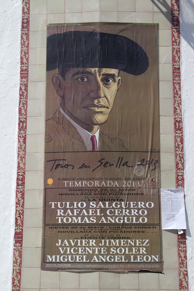 A Poster outside the Bull Ring in Seville, Spain on May 14, 2013.