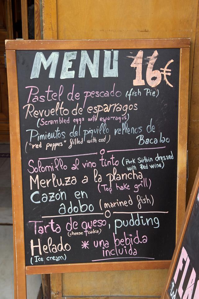 Menu in Seville, Spain.