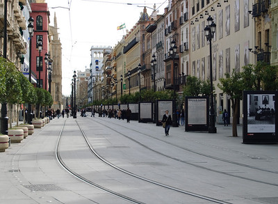 Ave de La Constitución Open to trams and pedestrians only and runs right past the cathedral.