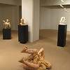 "My four sculptures in the show.  ""Laughing Until"" in foreground is life size."