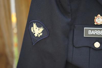 Patch sewn on military dress uniform