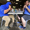 A new restaurant called Shake-N-Dog has opened in Leominster that serves up hot dogs and shakes. Enjoying their lunch on Thursday is Mateo Fartado, 21, and Shawn Bianchin, 21, both of Leominster. SENTINEL & ENTERPRISE/JOHN LOVE