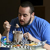 A new restaurant called Shake-N-Dog has opened in Leominster that serves up hot dogs and shakes. Enjoying his milkshake on Thursday isShawn Bianchin, 21, of Leominster. SENTINEL & ENTERPRISE/JOHN LOVE