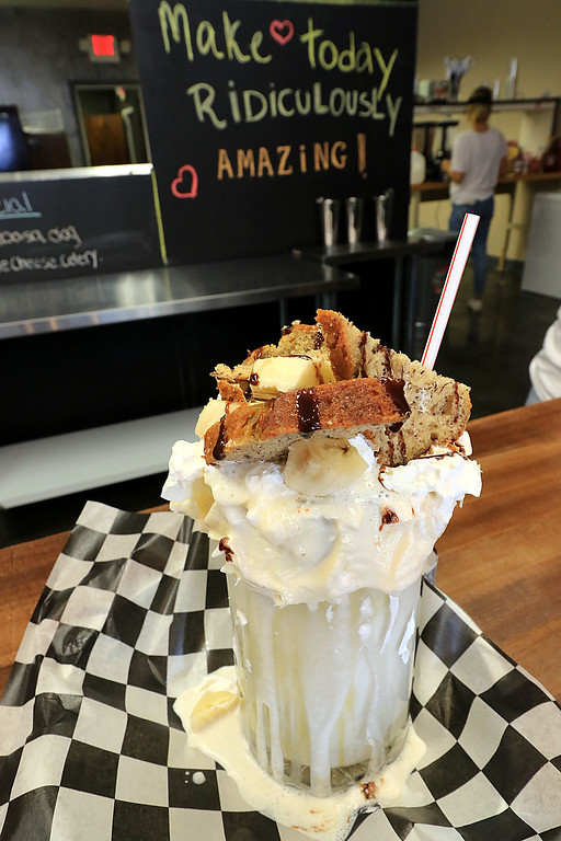 . A new restaurant called Shake-N-Dog has opened in Leominster that serves up hot dogs and shakes. Their banana milkshake. SENTINEL & ENTERPRISE/JOHN LOVE