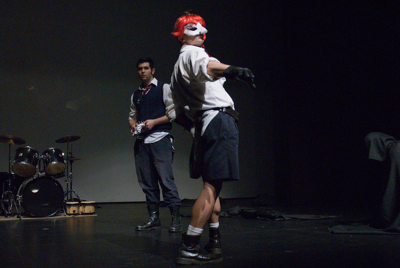 Mercutio (Max Baumgarten, fore) and Romeo (Aeon Brady)