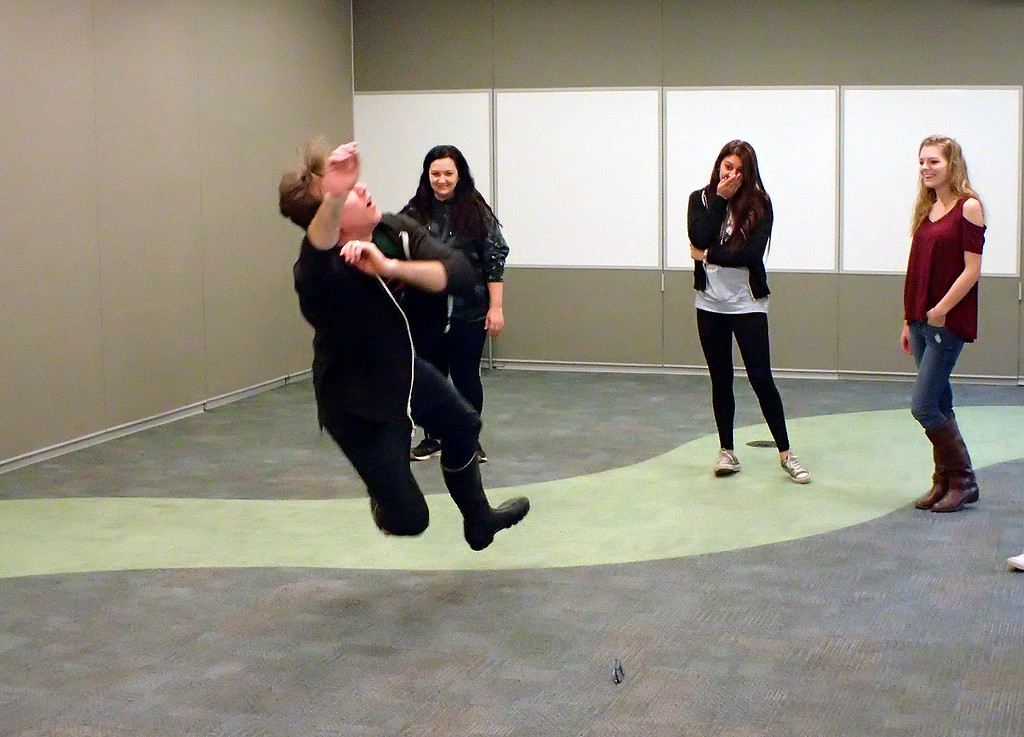 . Jonathan Tressler - The News-Herald. A scene from one of the Shakespeare Stage Combat workshops conducted April 4 by the Ohio Shakespeare Festival at Lakeland Community College in Kirtland.
