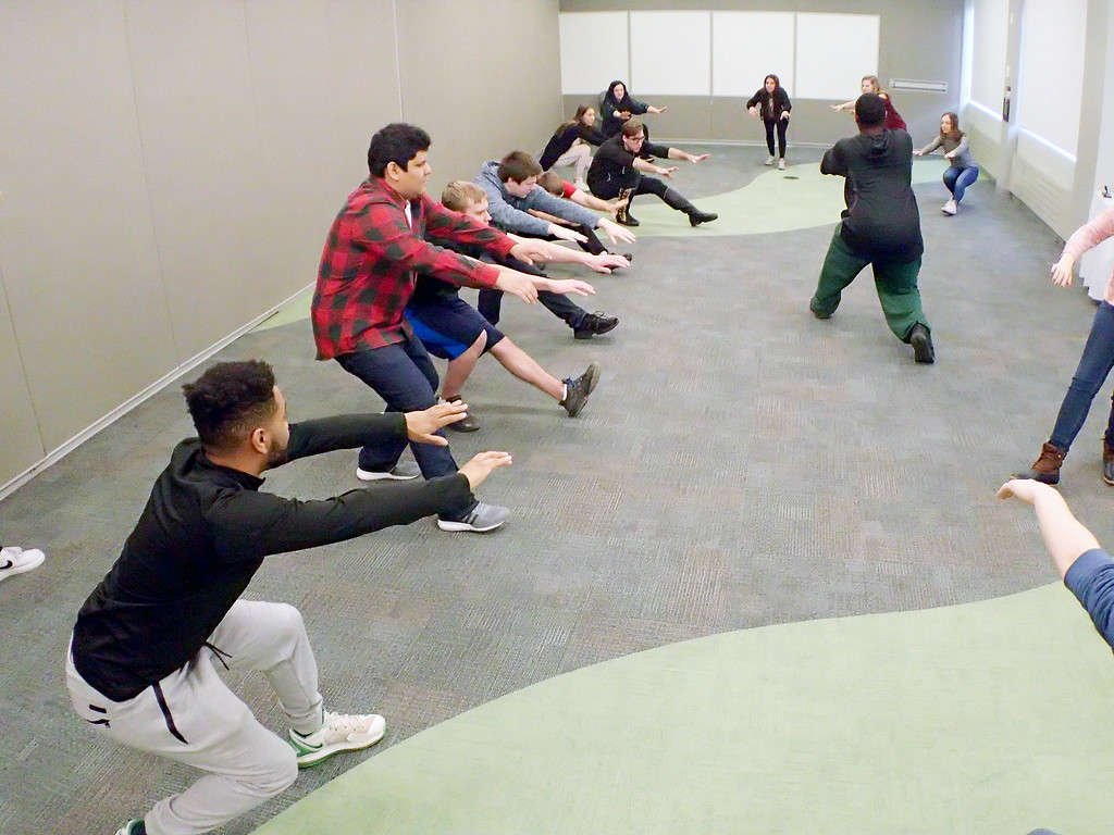 . Jonathan Tressler - The News-Herald. Participants in one of the Shakespeare Stage Combat workshops learn how to fall backwards as the Ohio Shakespeare Festival�s Resident Fight Director and Production Manager Ryan Zarecki takes them through the motions.