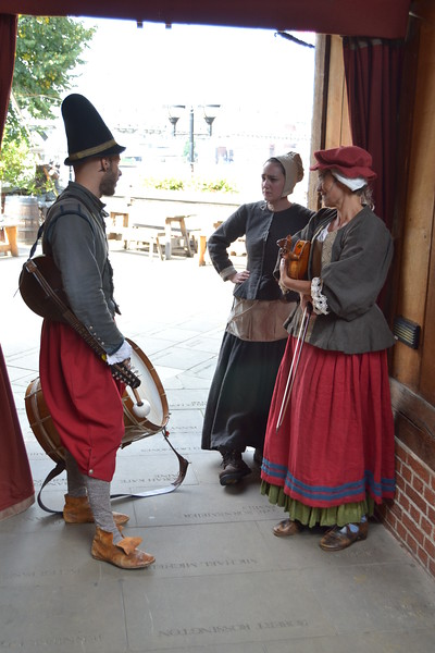 Musicians at the Globe Theatre in London.