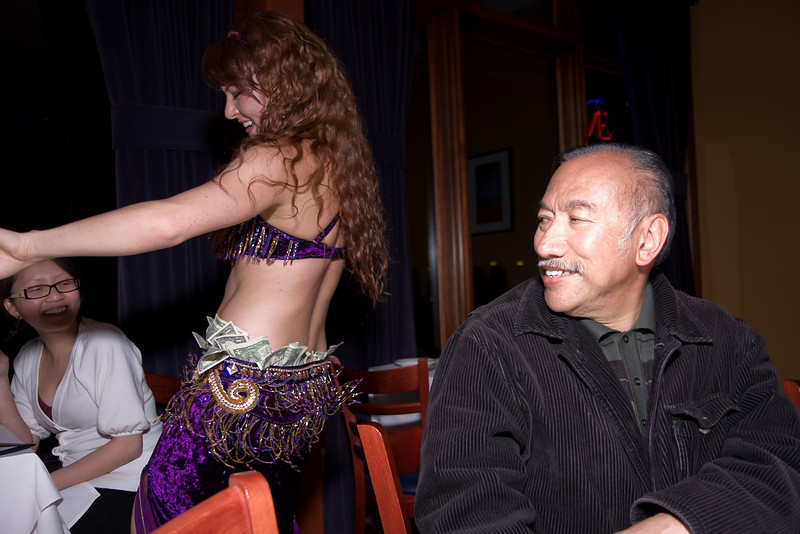 The belly dancer continues on.