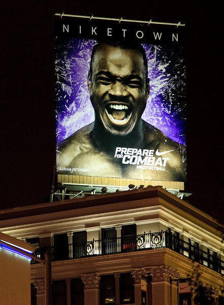 I wonder how 49'er fans feel about an Adrian Peterson billboard being prominently displayed in San Francisco's Union Square? Go Vikings!