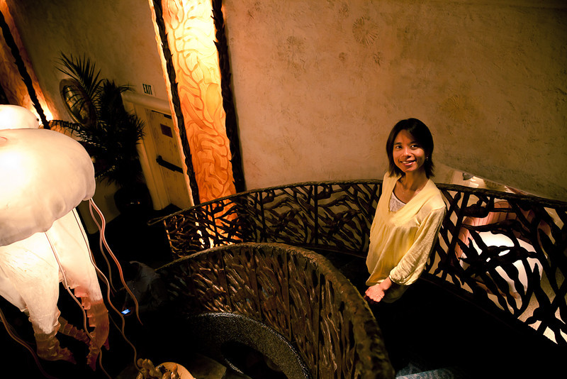 Shalimar graces Farallon's flight of stairs.