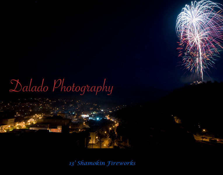 (11X14) Fireworks explode above the Glen Burn Bank.