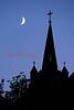 The moon rises over the former St. Mary's Slovak Catholic Church in Shamokin.