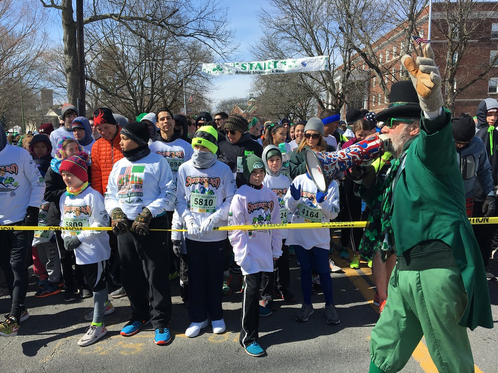 . Despite frigid weather on March 12, people came out to enjoy the annual St. Patrick\'s Parade in Kingston, N.Y., and participate in the Shamrock Run. Daily Freeman photo by Tania Barricklo.