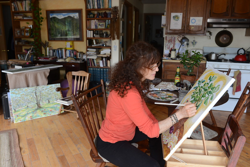 Artist Durga Yael Bernhard works on a piece titled 'Jade and Ginger Brew'  in her Shandaken home at 203 Broadstreet Hollow, one of 5 artists on Broadstreet Hollow participating in the artist tour.