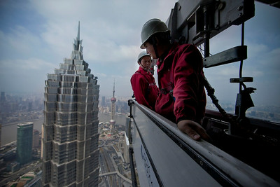 Window cleaners above Shanghai's Pudong District 2011