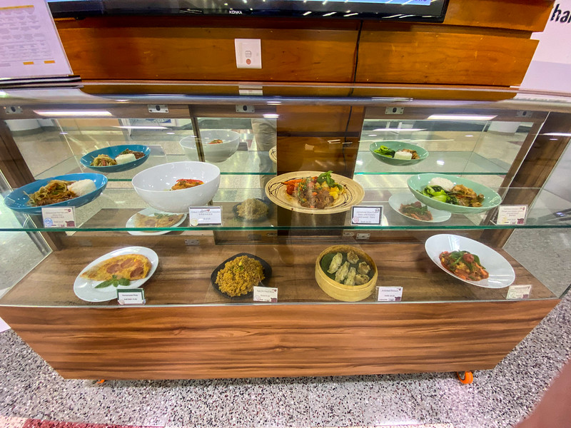 Every day the cafeteria posts the different meals for the day.  There are several options, both Western and Asian.  In addition, there's a cafe in the lobby that has treats on offer throughout the day if you're getting a little hungry!