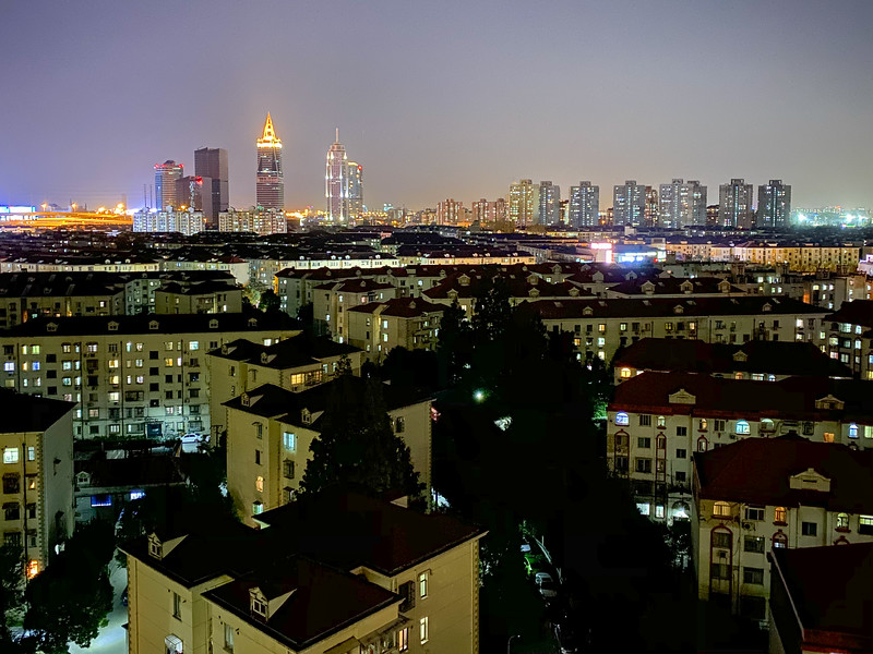 Nighttime view of Jinqiao (my neighborhood in Shanghai) out my bedroom window.
