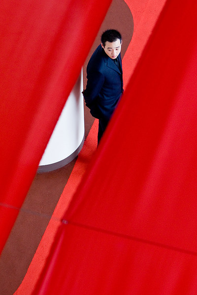 """Red curtain"" - 19 April. Took similar picture several years ago at the F1 race. This is looking down through these red curtains that mark a VIP section"