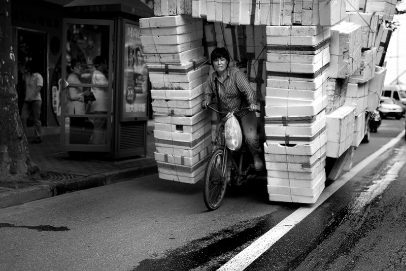 """Overload"" - Thu 18 Sep<br /> <br /> On the way to Pelle when I spotted this loaded bicycle. Amazing what they put on the bikes in Shanghai"