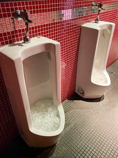 Random photo at a nice restaurant of the urinals.  Not sure why they are filled with ice exactly, but whatever!