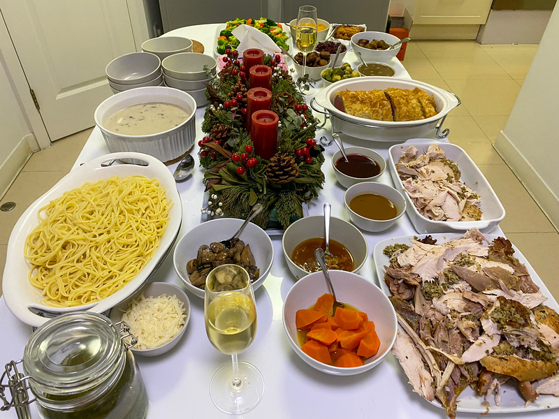 On Christmas Eve we had a get together with 14 people for dinner and worship.  We didn't go hungry - turkey, beef wellington, pasta, soup, and all the sides you could want!  It was a great meal!
